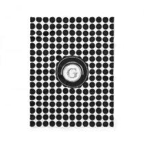 Chic Monogram Initial | Modern Black White Dots Fleece Blanket