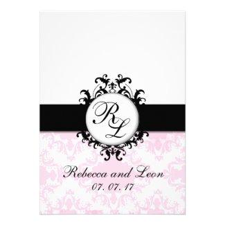 Pink Black Wedding Invitations | Parisian Damask