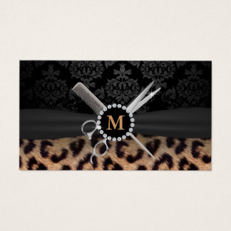 Chic Monogram Leopard Print Hair Stylist Business Card