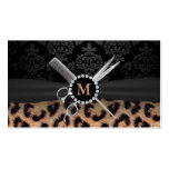 Chic Monogram Leopard Print Hair Stylist Double-Sided Standard Business Cards (Pack Of 100)
