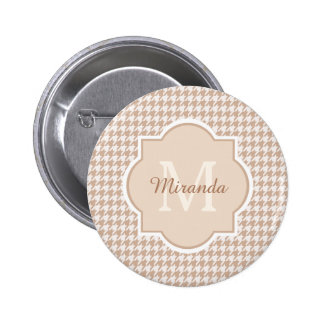 Chic Monogram Light Brown Houndstooth With Name 2 Inch Round Button