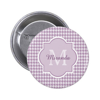 Chic Monogram Light Purple Houndstooth With Name 2 Inch Round Button