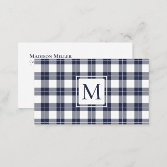 Chic Monogram Navy Blue and White Plaid Pattern Business Card