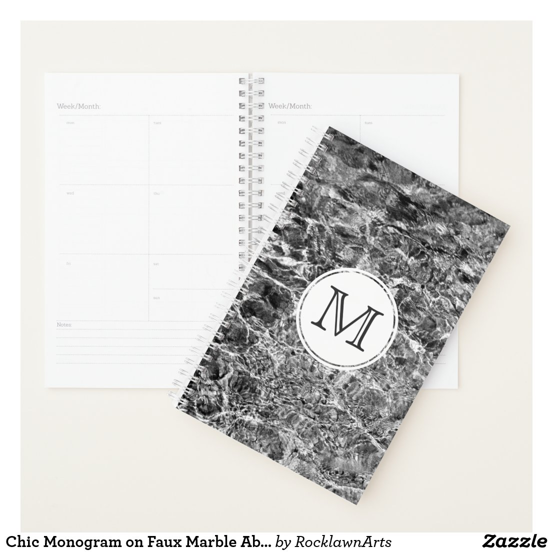 Chic Monogram on Faux Marble Abstract Photo Planner
