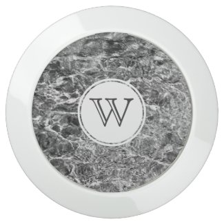 Chic Monogram on Faux Marble Abstract Photo USB Charging Station