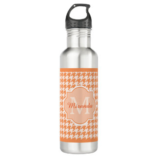 Chic Monogram Orange Houndstooth With Name Stainless Steel Water Bottle