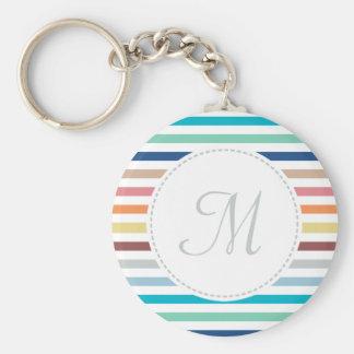 Chic Monogram Pastel Rainbow Horizontal Stripes Basic Round Button Keychain