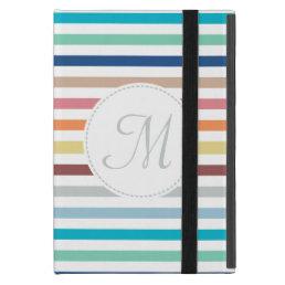 Chic Monogram Pastel Rainbow Horizontal Stripes Case For iPad Mini