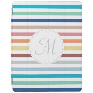 Chic Monogram Pastel Rainbow Horizontal Stripes iPad Cover