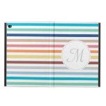 Chic Monogram Pastel Rainbow Horizontal Stripes Powis iPad Air 2 Case