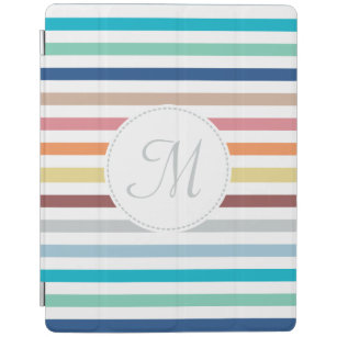 Chic Monogram Pastel Rainbow Horizontal Stripes iPad Smart Cover