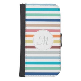 Chic Monogram Pastel Rainbow Horizontal Stripes Galaxy S4 Wallet