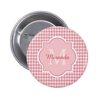 Chic Monogram Pink Houndstooth and Name 2 Inch Round Button