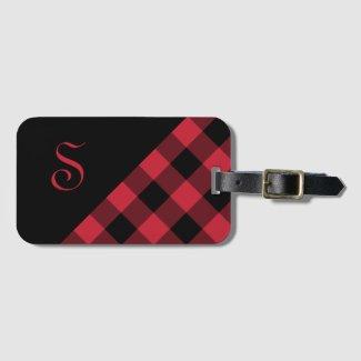 Chic Monogram Red Black Buffalo Check Geometric Luggage Tag
