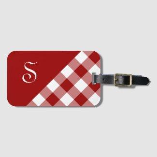 Chic Monogram Red White Buffalo Check Geometric Luggage Tag