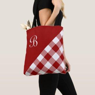 Chic Monogram Red White Buffalo Check Geometric Tote Bag
