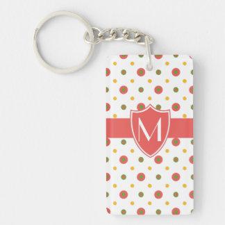 Chic Monogram Red White Polkas Acrylic Keychain