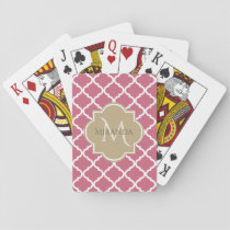 Chic Monogram Rose Pink Tan Quatrefoil and Name Playing Cards