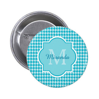Chic Monogram Turquoise Houndstooth With Name 2 Inch Round Button