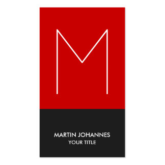 Chic Monogram Vertical Red Grey Business Card