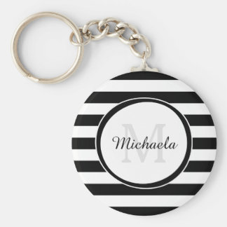 Chic Monogram With Large Black and White Stripes Basic Round Button Keychain