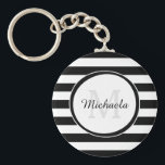 "Chic Monogram With Large Black and White Stripes Keychain<br><div class=""desc"">A chic black and white large stripes basic keychain. Personalize this dressy pattern by adding your name and monogrammed initial. This modish monogram design is part of the Black Trinkets Summer Color Collection.</div>"