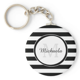 Chic Monogram With Large Black and White Stripes Keychain