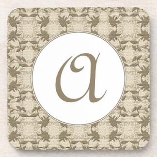 Chic Monogrammed Beige Lace With White Beverage Coaster