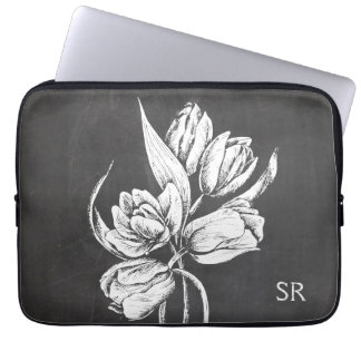 Chic Monogrammed chalkboard tulips Computer Sleeve
