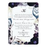 Chic Monogrammed Purple Floral Winter Wedding Card