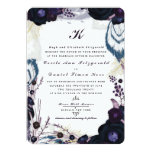 "Chic Monogrammed Purple Floral Winter Wedding 5"" X 7"" Invitation Card"