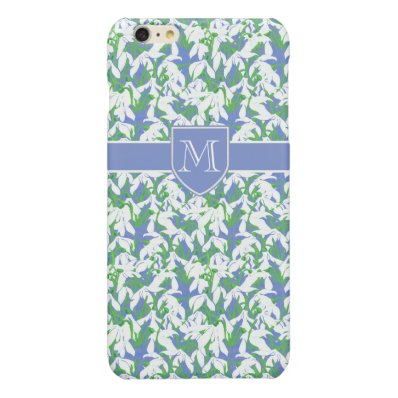 Chic Monogrammed White Snowdrop Pattern on Blue Glossy iPhone 6 Plus Case