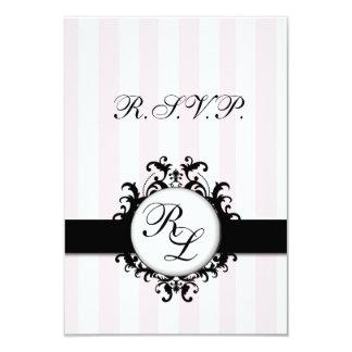 Chic Monograms RSVP Card Wedding Pink Stripes Invite