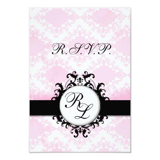 Chic Monograms WEDDING RSVP Card Pink Damask