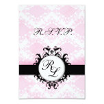 Chic Monograms WEDDING RSVP Card Pink Damask Personalized Invite