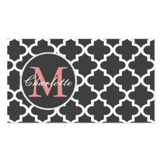 Chic Moroccan Tile Lattice Pattern Monogrammed Double-Sided Standard Business Cards (Pack Of 100)