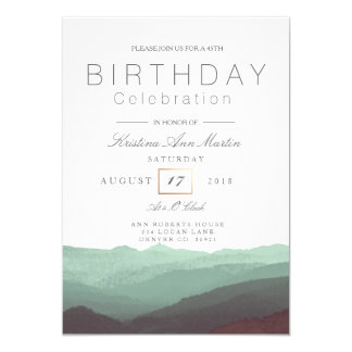 Chic Mountain Watercolor | Birthday Celebration Card