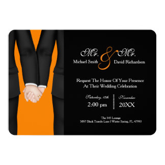 Chic Mr. & Mr. Tuxedo Couple Wedding Celebration Invitation