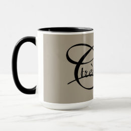 "CHIC MUG_""tres Chic"" BLACK TEXT ON KHAKI Mug"