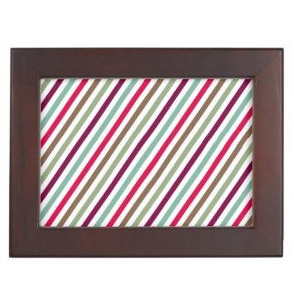 Chic Multicolored Diagonal Stripes Pattern Memory Box