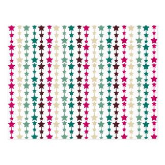 Chic Multicolored Stars Pattern Post Card