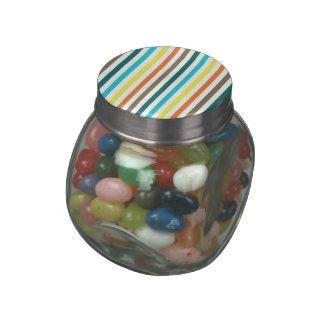 Chic Multicolored Stripes Glass Jar