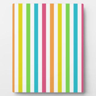 Chic Multicolored Stripes Plaque