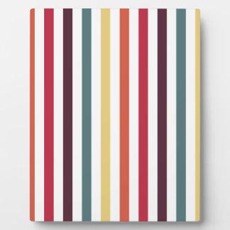 Chic Multicolored Stripes Photo Plaques