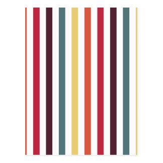 Chic Multicolored Stripes Postcard
