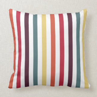 Chic Multicolored Stripes Throw Pillow