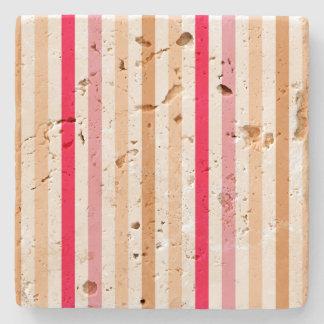 Chic Multicolour Stripes Pattern Design Stone Beverage Coaster