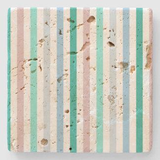 Chic Multicolour Stripes Pattern Design Stone Coaster