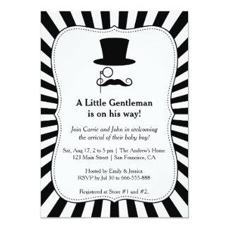 Chic Mustache Gentleman baby boy shower invitation