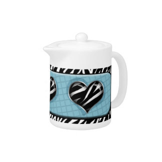 Chic My Heart - Blue Zebra Print Teapot